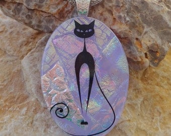 Purple Stylized Dichroic Cat Pendant, Oval Fused Glass Pendant, Cat Lover Glass Dichroic Pendant, Dichroic Image Pendant, Statement Necklace