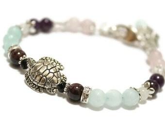 Fertile Turtle Gemstone Bracelet with Black Onyx, Amazonite, Rose Quartz, Rock Crystal, Amethyst,fertility jewelry,baby bracelet