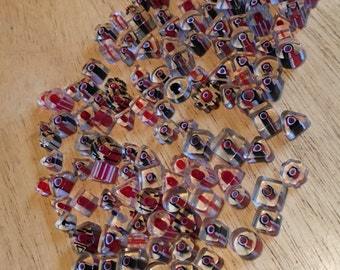 Cane Glass Beads - red, black & white, destash
