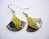 Lovely Vintage Abalone Shell and Inlaid Yellow Turquoise Earrings
