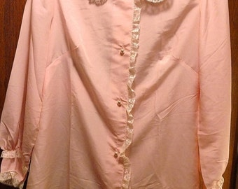 Winter Sale Vintage Christian Dior Pink White Lace Bed Jacket Short Robe Lingerie Nightgown Bed Shirt Victorian Top ILGWU NOS Wedding Night
