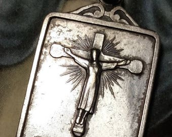 French Antique Vintage Silver Plated Art Deco Tancremont Religious Medal Pendant Jesus Crucifix Cross