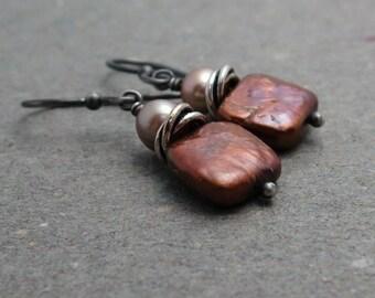 Copper Pearl Earrings Square Pearls Geometric Jewelry Champagne Pearls Oxidized Sterling Silver Earrings June Birthstone