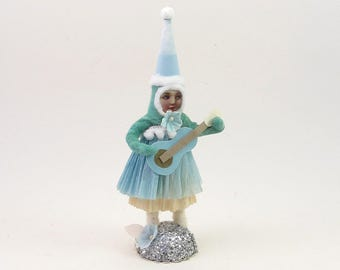 READY TO SHIP Vintage Inspired Spun Cotton Music Gal Figure Ooak
