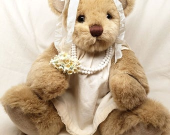 Precious Altered Teddy Bear with Vintage Doll Dress, Vintage Millinery and Antique Jewelry
