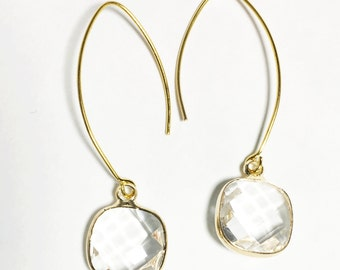 Simple gold plated brass earwire with clear glass square drop  earring