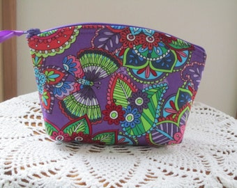 Retro Bohemian Floral Essential Oils Case  Cosmetic Bag Clutch Zipper Purse   Made in the USA Butterflies in Purple
