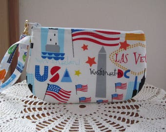 USA Landmarks Cities Smart phone Case Gadget Pouch Clutch Wristlet Zipper Gadget Pouch