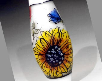 Roses Bluebells and Sunflower Illustration in Glass, handmade lampwork glass bead focal by JC Herrell