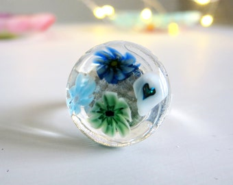 Blue Millefiori Ring. Blue Flower Ring. Glass Ring. Adjustable Fused Glass Ring. Boho Ring. Bohemian Ring. Cocktail Ring