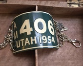 Repurposed Mini License Plate bracelet  Utah Road Trip