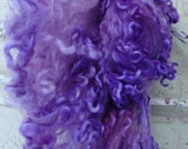 Cotswold Wool Curls - Hand Dyed Fleece - Purple Locks - Spinning Supplies - Curly Sheep Wool - Laughing Taffy