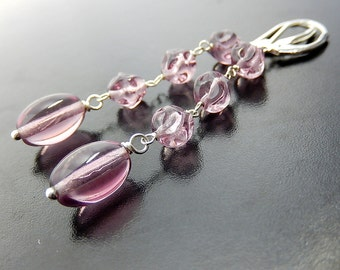 Purple Leverback Earrings, Violet Dangles, Czech Glass Drops, Light Plum, Sterling Silver