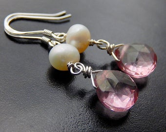 Pink Quartz Drop Earrings, Pearl Earrings, Mystic Quartz Sterling Silver Teardrop Earrings