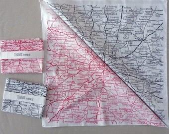 London Hankie screenprinted vintage map handkerchief