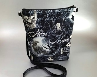 Nevermore - Raven - Small - Cross Body Tote - Lightweight - Black - Gothic - Skull - Dark - Zippered bag - Tote bag -Moon - Bats - Spider