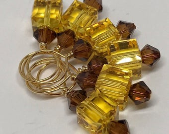 Stitch Markers - Light Topaz and Smoked Topaz Swarovski Crystal