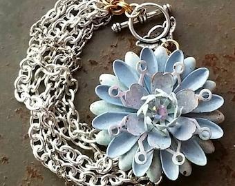Cornflower Blue Flower Chain Bracelet...per wendy baker