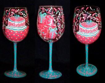 PERSONALIZED Hand Painted Birthday Cake Wine Glass  -Artist Original - Pink & Teal - Dishwasher Safe Finish!