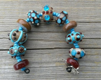Handmade Lampwork Bead set by JudyDalyReganti -Chocolate Blueberries Light Turquoise Taupe and Chocolate Brown Bead Set
