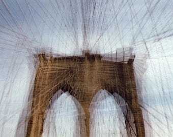 brooklyn bridge (soft focus): nyc print brooklyn bridge canvas art new york print surreal photography nyc wall art new york city photography