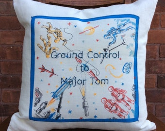 Ground Control to Major Tom embroidered pillow