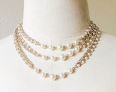 "52.5"" Long Vintage Sarah Coventry Necklace, Marked Sarah Cov. Chain and Faux Pearl Beads"