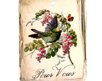 Pour Vous Gift Tags , Vintage Bird Tags , Stacked Paper , Rustic , Shabby , Pink Flowers , Butterfly , French Tags , Bluebird Lane Tags