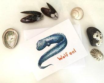 Wolf eel greeting card, A6, watercolor, print, ocean art, nautical, holiday, gift, science, sea, ocean