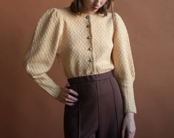 mutton poet sleeve sweater / yellow wool cotton sweater / peplum cardigan sweater / s / 2202t / B21