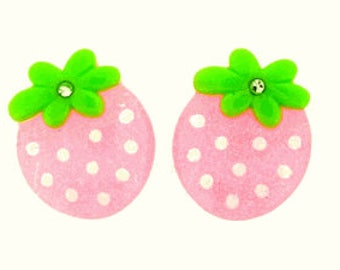 25 Pieces Resin Strawberry Flatback with Gem in Glitter Pink