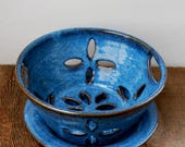 Cobalt Blue Berry Bowl or Colander with Saucer Stoneware Pottery Ready to Ship