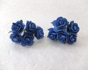 Paper roses - 10 25mm royal blue paper roses - royal blue paper flowers