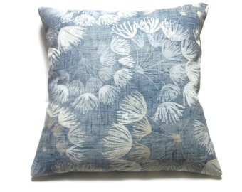 Decorative Pillow Cover Shades of Denim White Floral Toss Throw Accent 18x18 inch  x