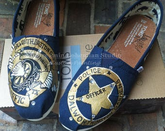 Toms Shoes, Custom Painted Flats, Handpainted Police Badge, Bike Club Emblem, Police Officers Wife Gift, Wives of Cops Present, Deputy LEO
