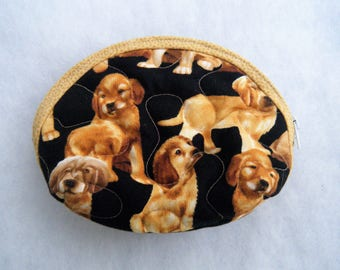 Small Quilted Purse - Golden Retriever puppies