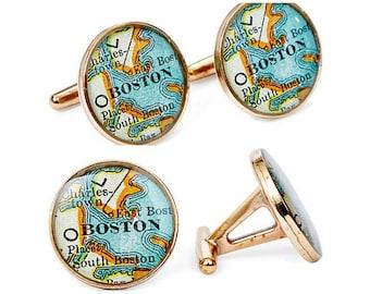 Boston Atlas Cufflinks Antique Atlas Solid Golden Bronze Heirloom Cast One Piece Free Shipping Globe
