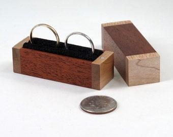 Double Ring Box, Single Ring Box, Maple Wood, Mahogany Wood Ring Box, Ring Bearer Pillow Box