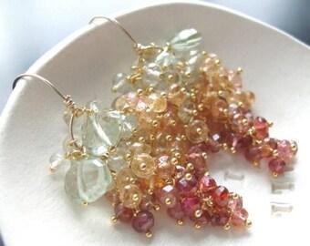 ON SALE - Custom Made to Order - Grenn Amethyst, Imerial Topaz, and Rose Tourmaline Earrings