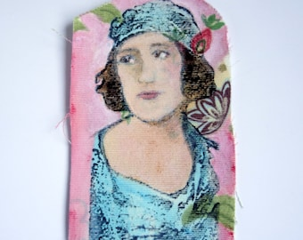 Original mini textile art / mixed media small fabric patch. Vintage lady image and acrylic paint. Pastel pink & blue