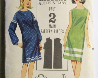 1960s Vintage Sewing Pattern Butterick 3566 Misses One-Piece Dress Pattern Size 12 Bust 32