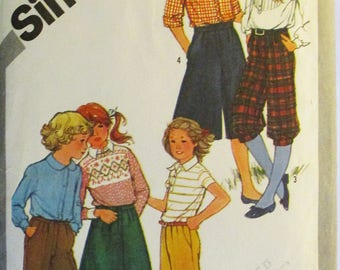 1980s Childs Sewing Pattern Simplicity 5314 Girls Pants, Knickers, Bermudas, Culottes & Skirt Pattern Size 12