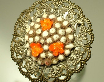 Vintage/ estate 1940s Czech style, filigree and painted flower, costume brooch/ pin - jewelry jewellery