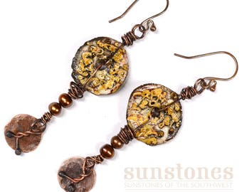 Rustic Copper and Ceramic Earrings  E1001
