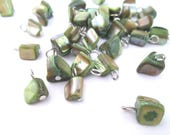 Mother of Pearl Pendant Charms, Green MOP Tumbled Drops, Pick Your Amount, C84