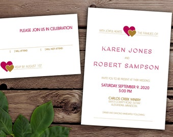 Modern Hearts Cute and Simple Wedding Invitation