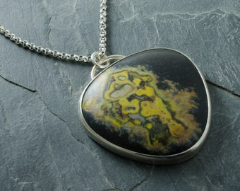 Bumblebee Jasper Pendant. Sterling Silver Pendant. Lotus Flower Necklace. Jasper Necklace. Bumble Bee Pendant. Bumblebee Jasper Necklace.