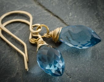 London Blue Quartz Earrings. Faceted Marquis Briolette. 14 Karat Gold Fill Earrings. London Blue Quartz Jewelry.