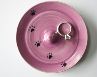 Paw Print Pink Ring Dish,  Ring Holder, Wheel Thrown Pottery, Violet Pink, Radiant Orchid