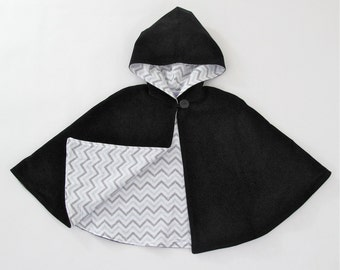 Boys Cape, Girls Cape, Black Cape with Gray Chevron Lining, Hooded Cape, Girls Capelet, Boys Poncho, Boys Cloak, Toddler Cape, Size 3/4T